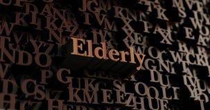 Åldring - trä3D framförda bokstäver/meddelande stock illustrationer