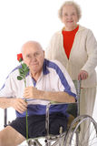 åldringen handikapp den hjälpande höga kvinnan Royaltyfria Foton