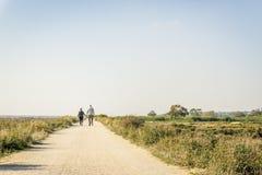 Åldringen kopplar ihop förälskat gå på en dammväg, Portugal arkivbild