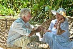 Åldringpar i tropisk trädgård royaltyfri fotografi