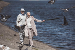 Åldringpar som går på flodkust på dagen Arkivfoton