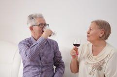 Åldringpar som tycker om vin arkivbilder