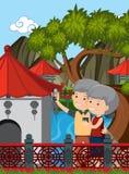 Åldringparbesök Kina stock illustrationer