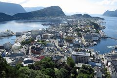 Alesund, Norway, Europe; August 14, 2013: View on the town of Alesund and its surrounding Archipelago from above stock photo