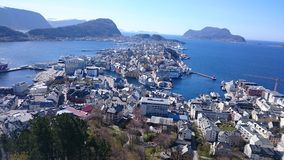 Ålesund Norway. The picture was taken from Fjellstua 03/04/15 Royalty Free Stock Photo