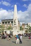 Åminnelsemonument på fördämningfyrkanten, Amsterdam, Nederländerna Arkivfoton