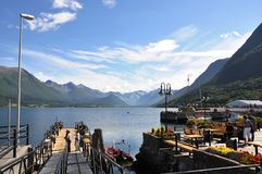 Åndalsnes. Is a beautifull norvegian city, with a great view over the lake and the mountains Stock Image