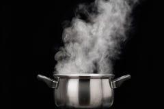 Ånga över matlagningkrukan Royaltyfri Foto