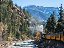 Ånga drev Durango till Silverton järnväg Fotografering för Bildbyråer
