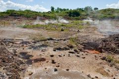 ånga för mudkrukar som är vulkaniskt Arkivfoton