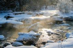 Ånga floden på en kall vinterdag arkivbild