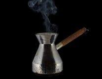 Ånga kaffekrukan Royaltyfria Bilder