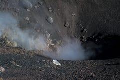 Ånga och giftgas som emanerar från den Etna vulkankrater Royaltyfri Foto