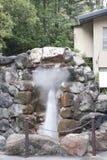 Ånga och varm vår i japanträdgård Arkivbilder