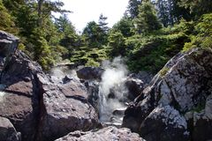 Ånga thermalvatten på den Hot Springs lilla viken nära Tofino, Kanada Royaltyfri Fotografi