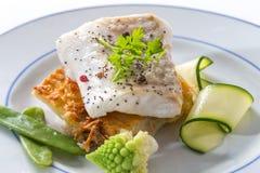 Ångad fisk för atlantisk torsk med kryddor och grönsaken arkivfoton