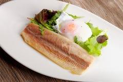 Ångad fiskfilé med ägget och sallad Arkivbild