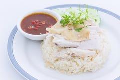 Ångad höna med rice Arkivfoton