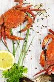 Ångad krabba med den nya citronen och aromatiska örter på träbackg Royaltyfri Bild