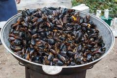 Ångade Black Sea musslor i sås med grönsaker Arkivbilder