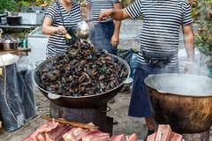 Ångade Black Sea musslor i sås med grönsaker Fotografering för Bildbyråer
