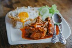 Ångade griskött och ris Royaltyfri Foto