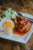 Ångade griskött och ris Arkivbilder