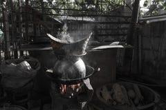 Ångade klibbiga ris Arkivbild