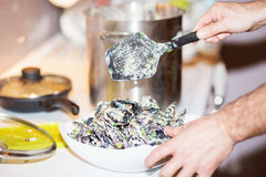 Ångade musslor i ostsås Arkivfoto