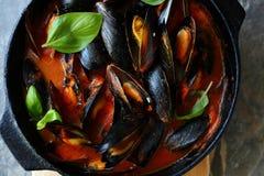 Ångade musslor i panna Royaltyfri Foto