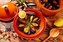 Ångade musslor Spanien för Tapasmejillonesal dunst Arkivbild