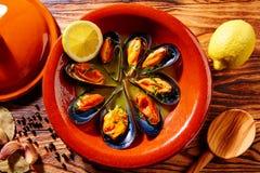 Ångade musslor Spanien för Tapasmejillonesal dunst Arkivbilder