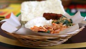 Ångade ris och Pecel Fotografering för Bildbyråer