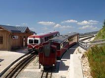Ångalokomotiv av en tappningkugghjuljärnväg som går till Schafber, Wolfgangsee Royaltyfria Bilder