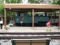 Ångalokomotiv för smalt mått på Hong Kong det järnväg museet royaltyfri foto