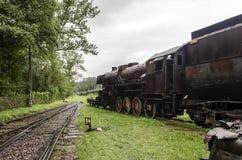 Ångalokomotiv, järnväg royaltyfria bilder
