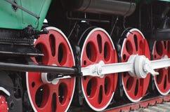 Ångalokomotiv, slut upp av hjul Royaltyfria Foton