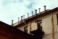 Ångamaskiner på taket arkivbild