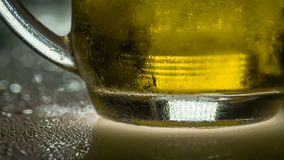 Ångande kopp av kallt öl stock video