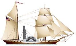 Ångare för sidewheel för ångbåtseglingskepp Arkivbilder