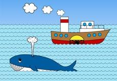 Ångare på havet Arkivfoton