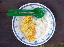 Ångat ägg och lagade mat ris royaltyfri foto