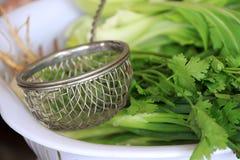 Ångbåttråd öser upp på den gröna grönsaken i den plast- sikten royaltyfri foto