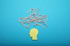 Ångest för mänsklig hjärna, röra och kaosbegrepp Mental koncentration arkivfoton