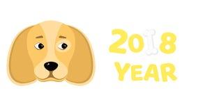 2018 år Året av den gula jordhunden Härliga diagram bakgrund isolerad white Vitt ben Den fallande skuggan Vect Royaltyfria Bilder