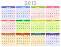 2015 år årlig kalender (måndag först, engelska) Arkivfoto