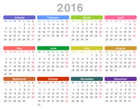 2016 år årlig kalender (måndag först, engelska) Arkivfoto