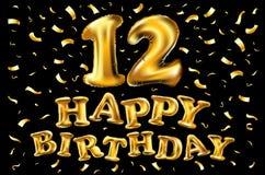 12 år årsdag Logo Celebration och inbjudankort med det guld- bandet som isoleras på mörk bakgrund Royaltyfria Bilder