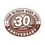 30 år årsdagberöm 30th årsdaglogodesign Trettio år logo stock illustrationer