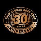 30 år årsdagberöm 30th årsdaglogodesign Trettio år logo royaltyfri illustrationer